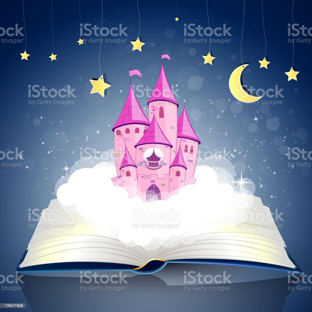 Vector open Book with Princess Castle Vector Illustration of an open Book with a Princess Castle Book stock vector