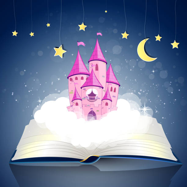 Vector open Book with Princess Castle vector art illustration