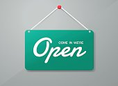 Vector open door sign. Label with text in flat style. Vector illustration,open sign