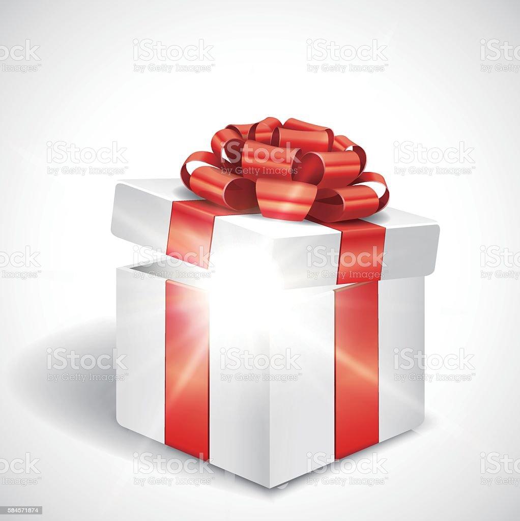 Vector open gift box with shiny light Vector EPS 10 format. Ajar stock vector