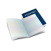 Vector open international passport template with clean pages