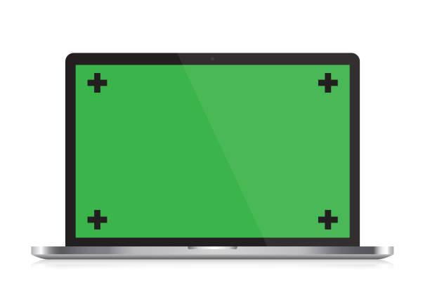 stockillustraties, clipart, cartoons en iconen met vector open laptop met chroma key en reflectie op witte ondergrond - green screen