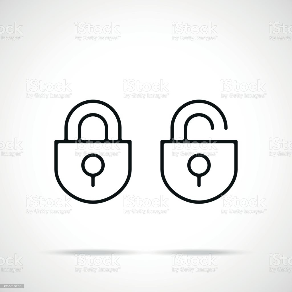 Vector open lock and closed lock icons set. Premium quality graphic design. Modern black linear signs, silhouettes, outline symbols, simple thin line icons set