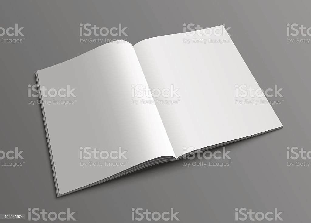 Vector open magazine or brochure mockup template. vector art illustration