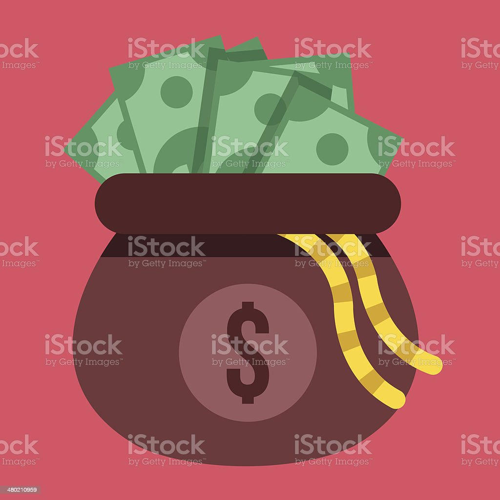 Vector Opened Money Bag Full of Money Icon