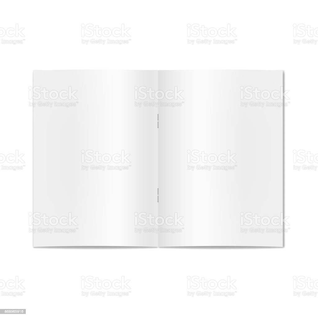 Vector opened realistic book, journal, magazine or newspaper on staples mockup