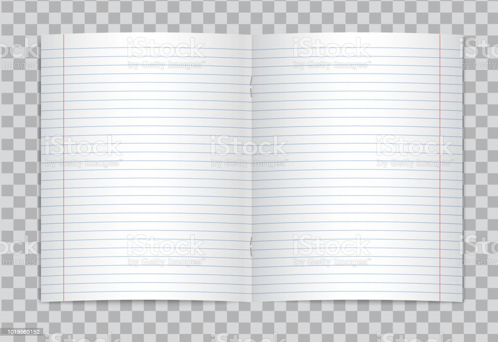 photo regarding Red and Blue Lined Handwriting Paper Printable known as Vector Opened Affordable Coated Basic University Copybook