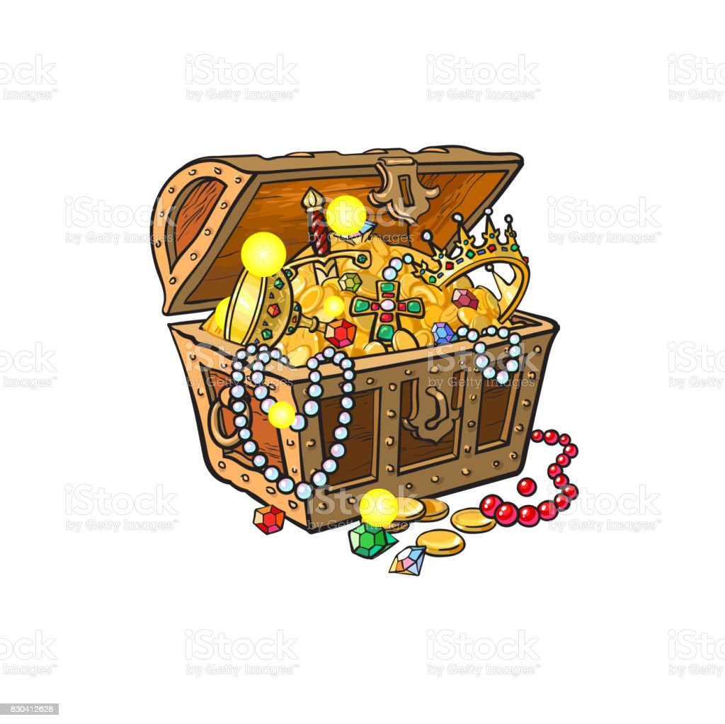 Vector Opened Treasure Chest Full Of Golden Coins Stock