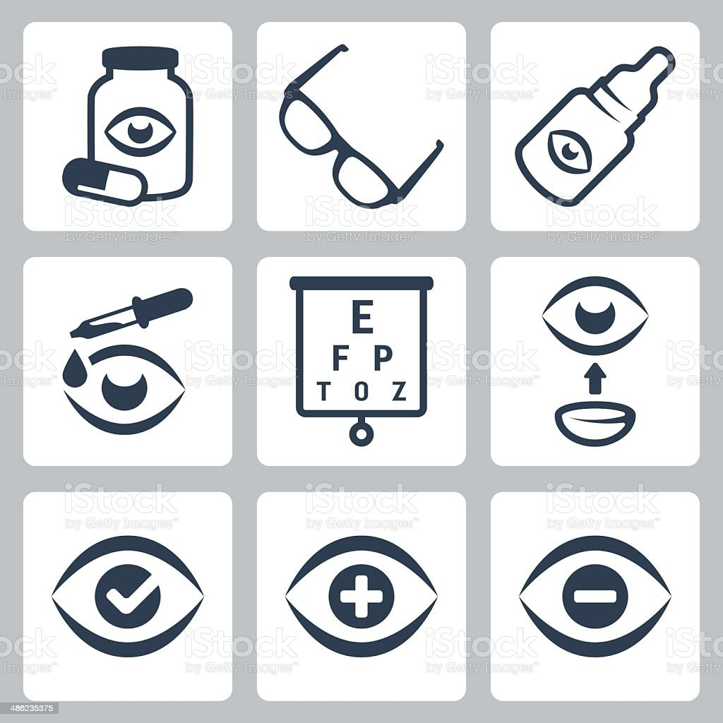 Vector optometry icons set vector art illustration