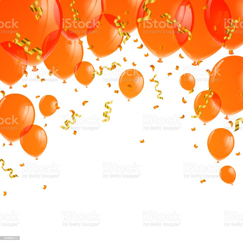 Vector Orange Balloons vector art illustration
