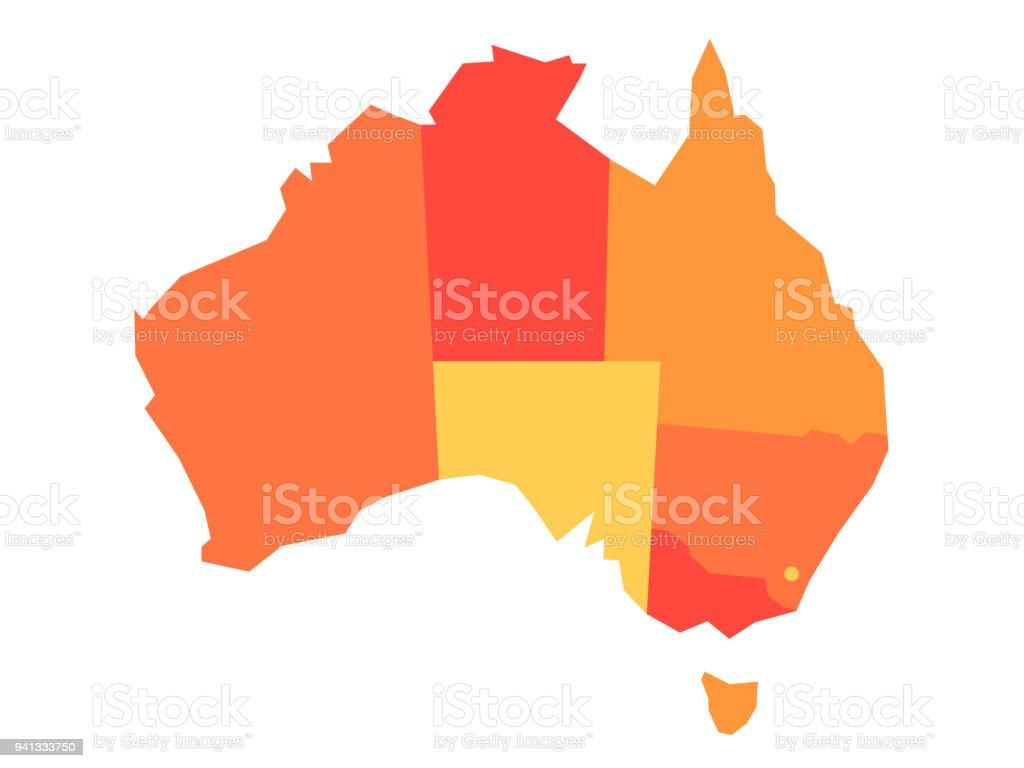 Mapa en blanco del vector naranja de Australia - ilustración de arte vectorial