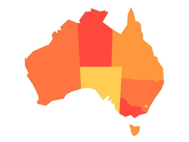 ilustraciones, imágenes clip art, dibujos animados e iconos de stock de mapa en blanco del vector naranja de australia - australia