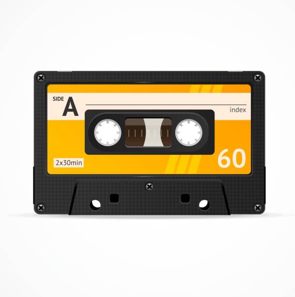 ilustrações, clipart, desenhos animados e ícones de vetor de fita cassete laranja isolada - fita cassete