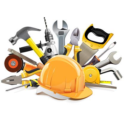 Vector Orange Construction Helmet With Hand Tools - Arte vetorial de stock e mais imagens de Afia-Lápis