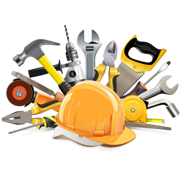 vector orange construction helmet with hand tools - tools stock illustrations