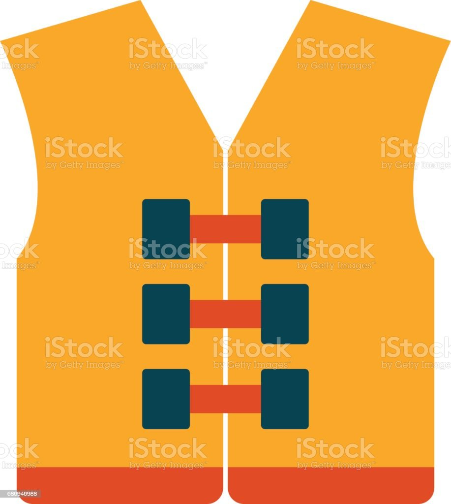 Vector orange life jacketor vest vector art illustration
