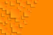 Vector orange modern abstract background. Flying mat paper square pattern with soft shadows. Realistic 3d illustration.