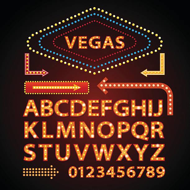 illustrazioni stock, clip art, cartoni animati e icone di tendenza di vettoriale arancione al neon lampada lettere carattere mostra vegas segnale chiaro - las vegas