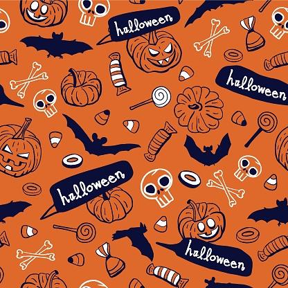 Vector orange pumpkins bats bones seamless pattern