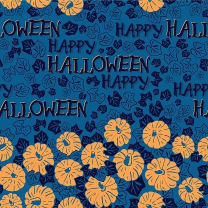 Vector orange pumpkins blue seamless pattern