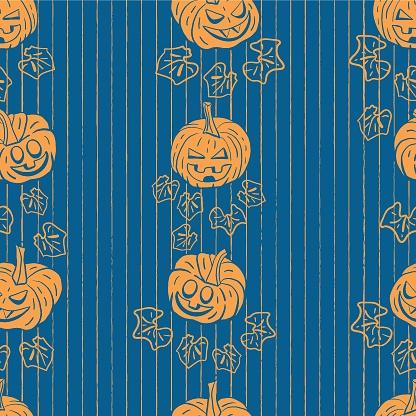 Vector orange pumpkins leaves blue repeat pattern