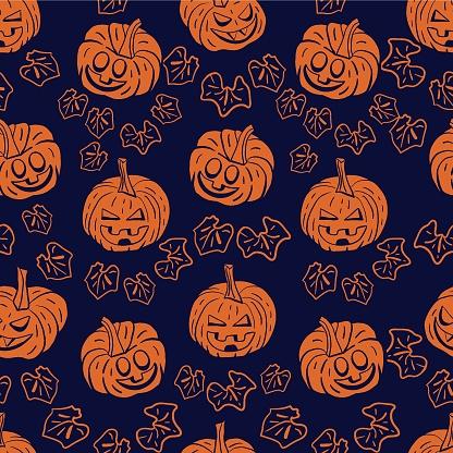 Vector orange pumpkins leaves dark repeat pattern