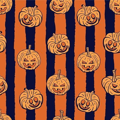 Vector orange pumpkins stripes seamless pattern