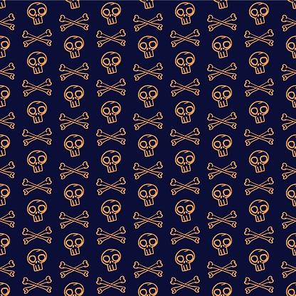 Vector orange skulls bones dark seamless pattern
