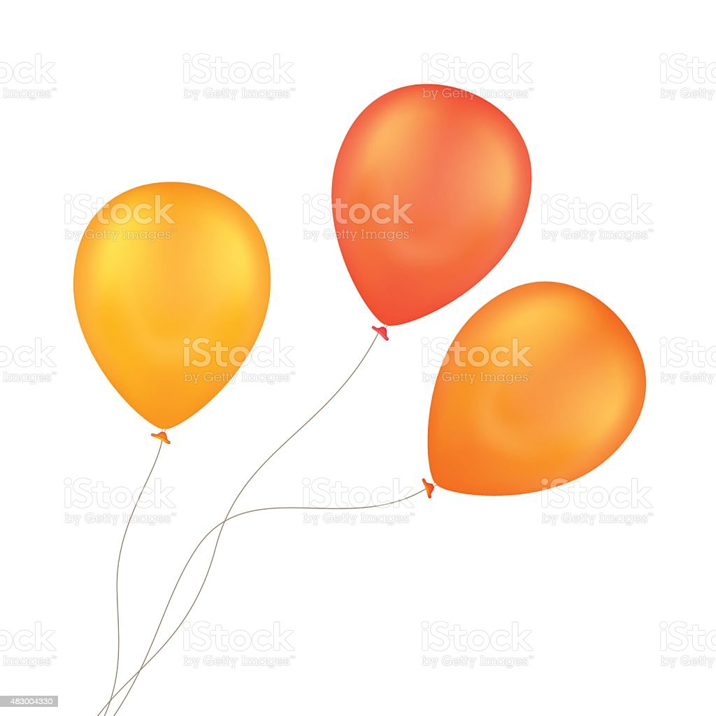 Vector Orange Yellow Balloons Isolated on White Background vector art illustration