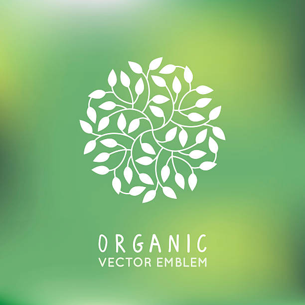 Vector organic and natural emblem vector art illustration