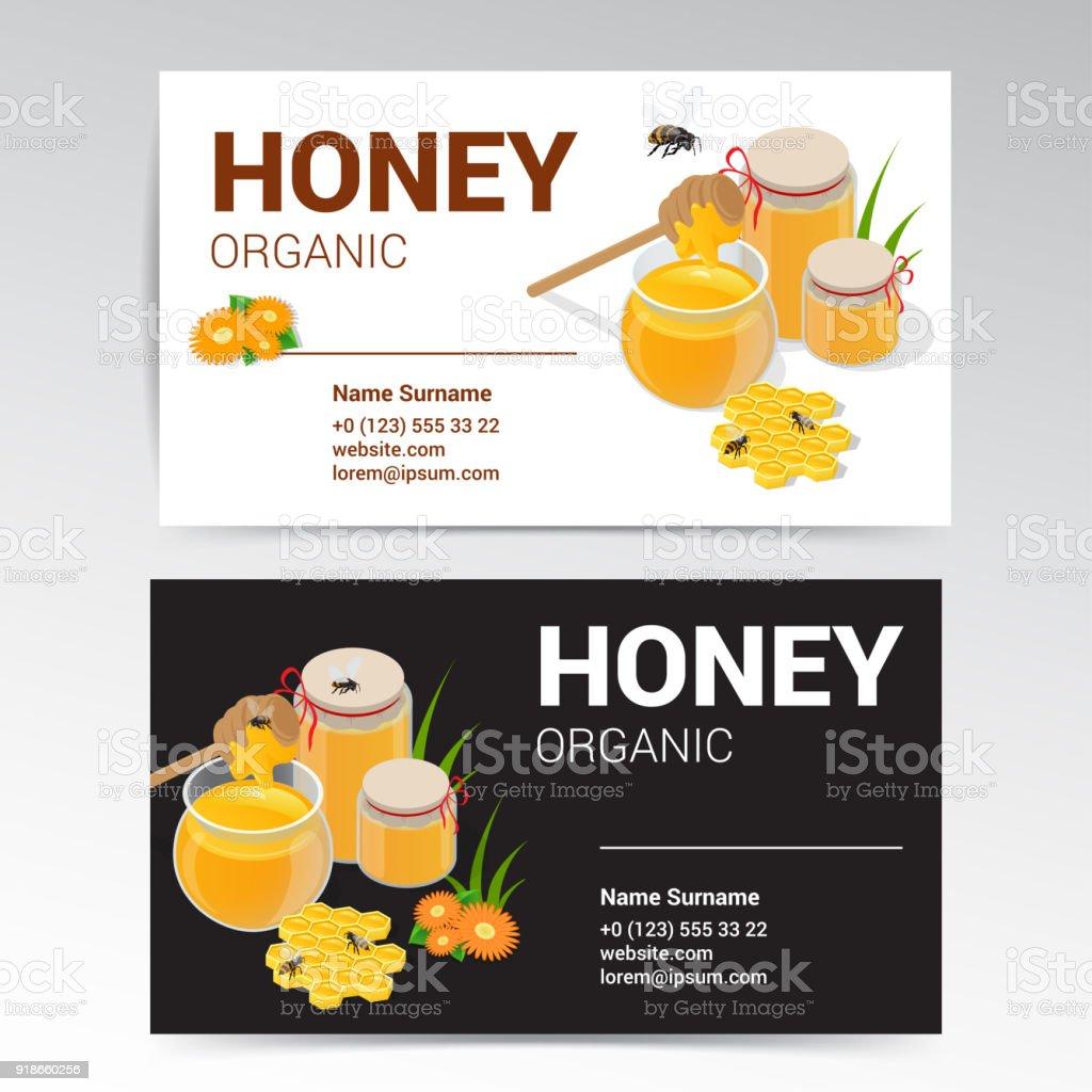 Vector Organic Honey Business Card Template White and Black Design. vector art illustration