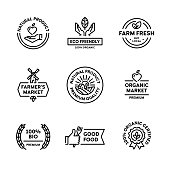 Vector Organic Natural Product Label Set