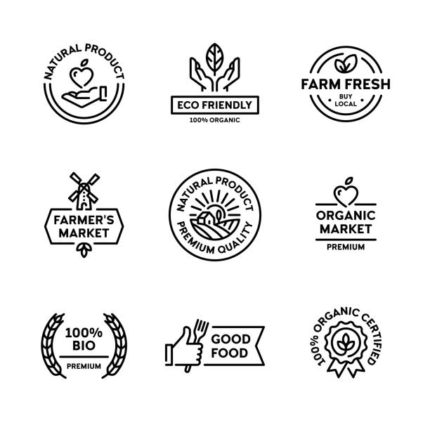 Vector Organic Natural Product Label Set Natural product icon label set. Vector premium quality logo badges with green leaves. 100 percent organic certified. Farm fresh, eco friendly. Bio food emblems for healthy goods, farmers market natural condition stock illustrations