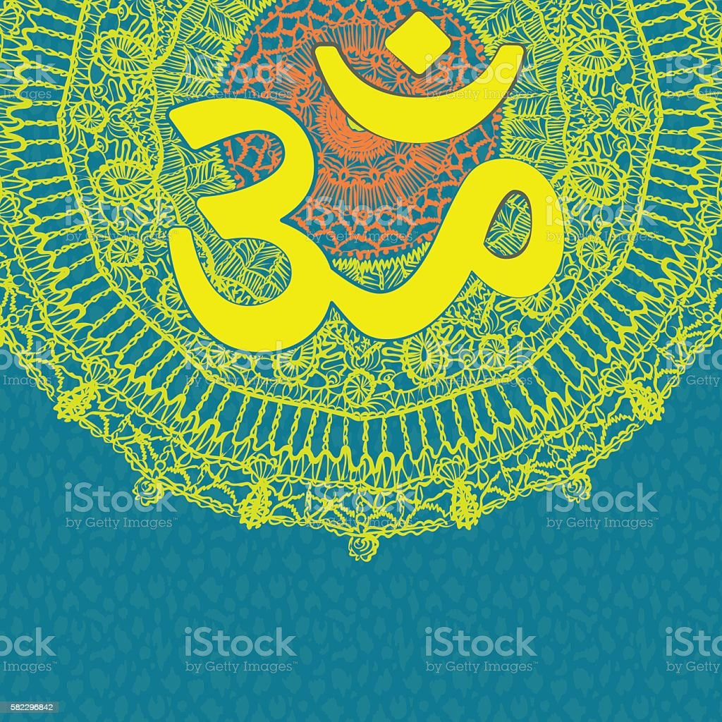 vector oriental mandala with om symbol on patterned background
