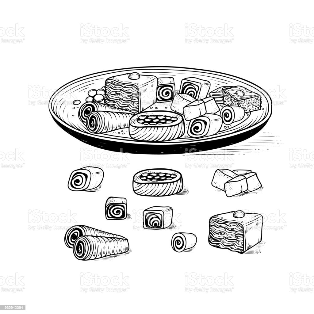 Vector Oriental traditional sweets in range. Dish with variety Asian ethnic confectionery product and desserts baklava Turkish delight nougat. Set sketch drawing engraving style vector art illustration