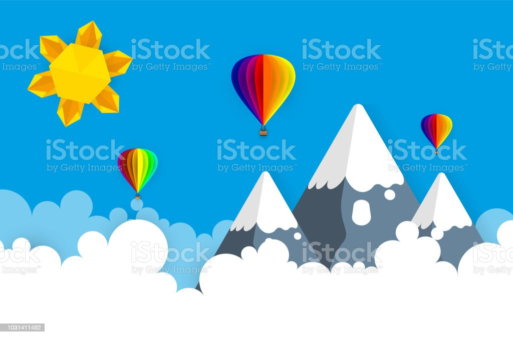 Vector Origami Made Colorful Hot Air Balloon And Cloudpaper Art And