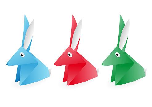 Vector Origami Rabbit