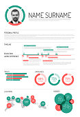 Vector original minimalist cv / resume template - with lot of infographic graphs and charts