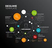 Vector original minimalist cv / resume template - creative profile dark version