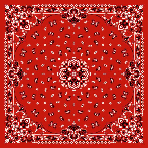 Vector ornament Bandana Print. Traditional ornamental ethnic pattern with paisley and flowers. Silk neck scarf or kerchief square pattern design style, best motive for print on fabric or papper Vector ornament paisley Bandana Print. Silk neck scarf or kerchief square pattern design style, best motive for print on fabric or papper. headscarf stock illustrations
