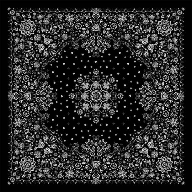 ilustrações de stock, clip art, desenhos animados e ícones de vector ornament embroidery floral bandana print, silk neck scarf or kerchief square pattern design style for print on fabric. embroidery flowers for fashion products - lenço do pescoço
