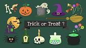 Vector elements halloween collection .Cute halloween cartoon background .