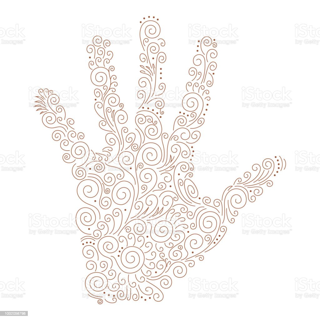 Vector Ornament On The Palm Of Henna Stock Vector Art More Images