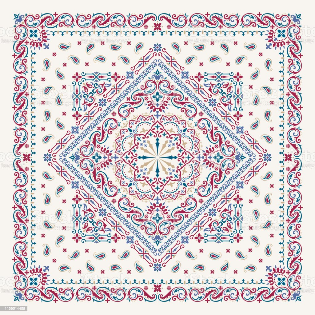 004f37d0d1 Vector Ornament Paisley Bandana Print Silk Neck Scarf Or Kerchief ...