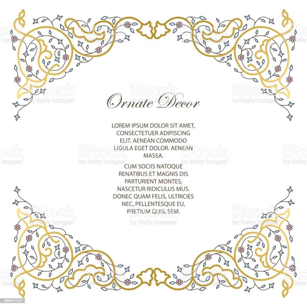 Vector ornamental  decorative frame. vector art illustration