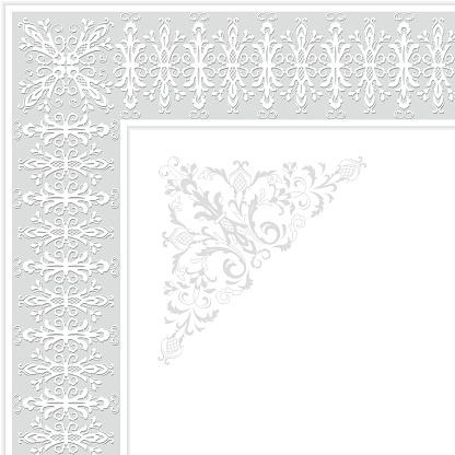 Vector ornamental floral border. Vintage style