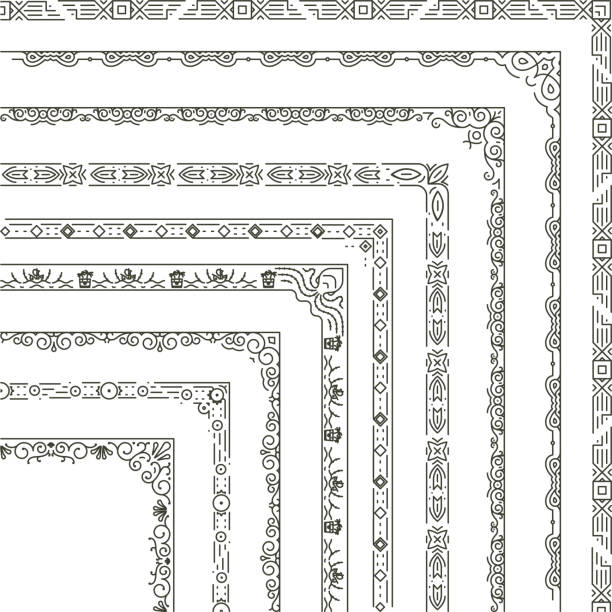 Vector ornamental frame corners and borders Set of corner borders illustration. Vector ornamental frame in monochrome style extreme close up stock illustrations