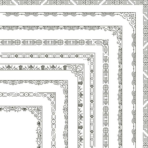 vector ornamental frame corners and borders - предельно крупный план stock illustrations