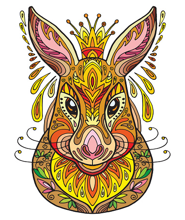 Vector ornamental hare