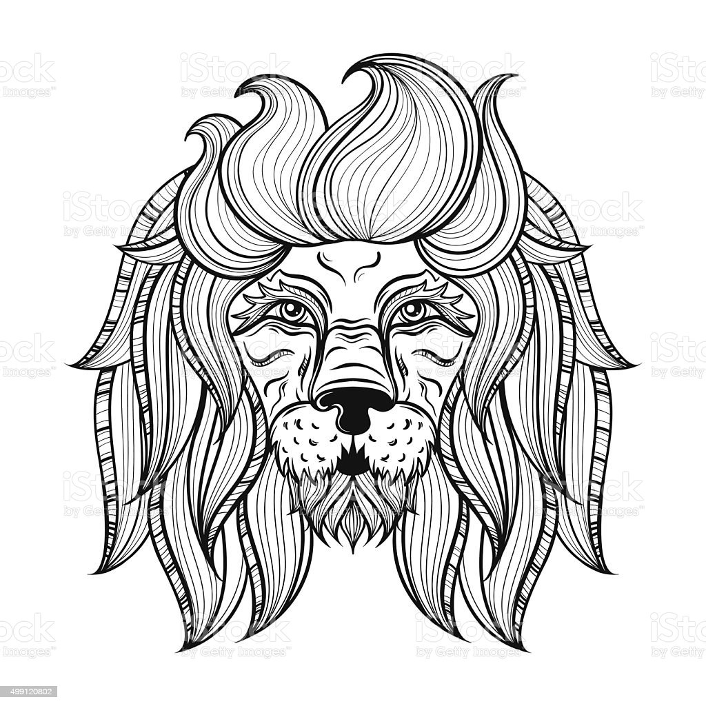 vector ornamental lion ethnic patterned head hand drawn stock
